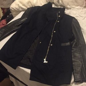 H&M stylish jacket with leather trim